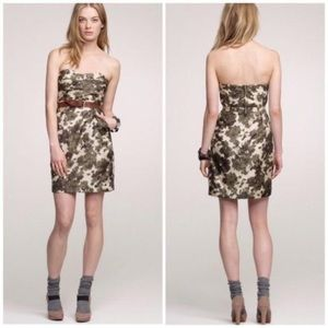 J crew 100% silk abstract floral ikat bustier